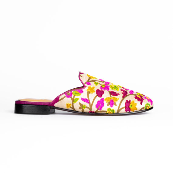 Multi-coloured Embroidered Flat Mules - REFASH