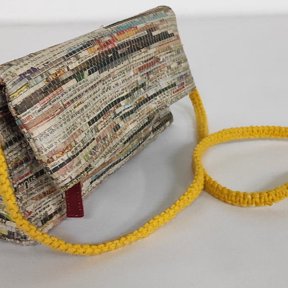 Eclectic Foldover Maroon Newspaper Clutch