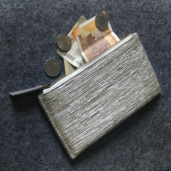 Handwoven Silver Pouch