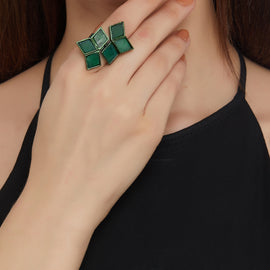 Diamond Cluster Ring - Dark Green