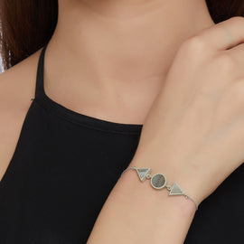 Double Triangle Circle Bracelet - Gray