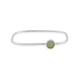 Square Bangle with Circle Charm - Silver