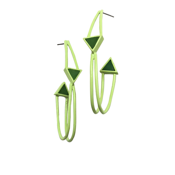 Twisted Triangle Hoop Earrings - Light Green
