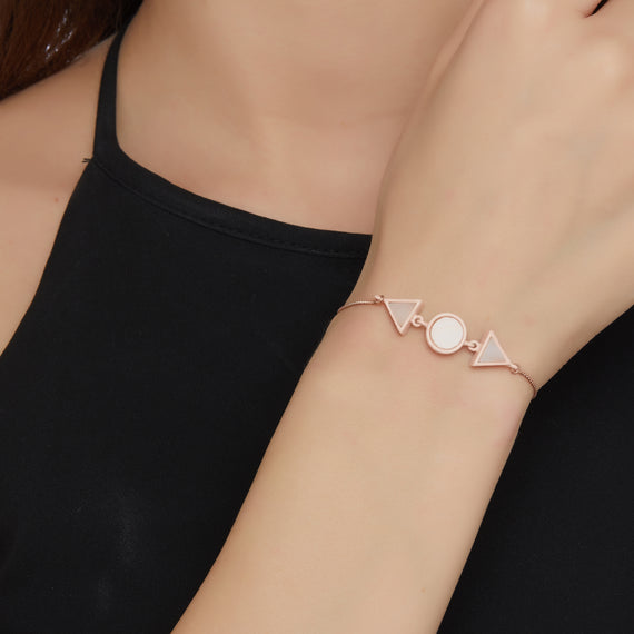 Double Triangle Circle Bracelet - Pink