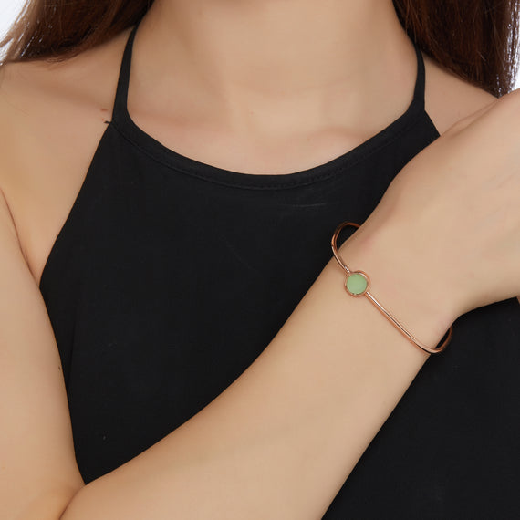 Square Bangle with Circle Charm - Rose Gold