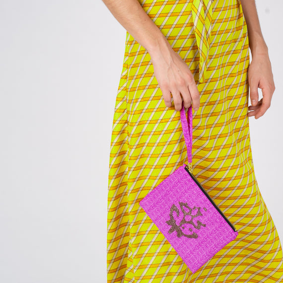 Embroidered Pouch - Pink