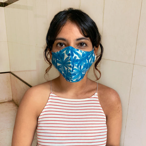 Blue Blooms Upcycled Mask - REFASH