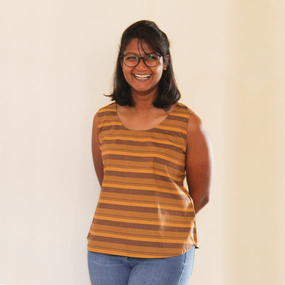 Mustard Striped Sleeveless Top