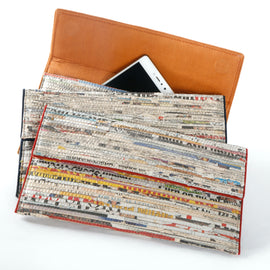 Handcrafted Navy Newspaper Clutch