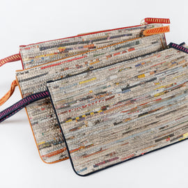 Handcrafted Navy Newspaper Wristlet