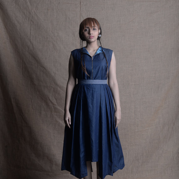 Pleated Midi Dress - Denim