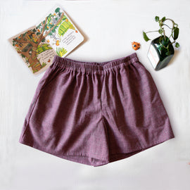 Maroon Striped Zero Waste Shorts