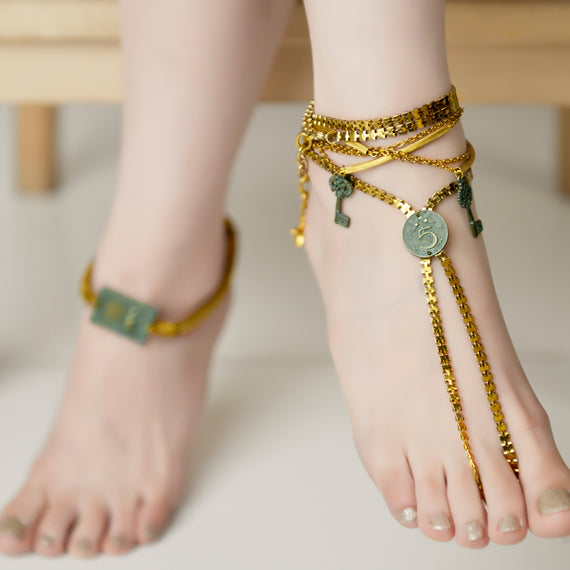 Turquoise Coin Anklet
