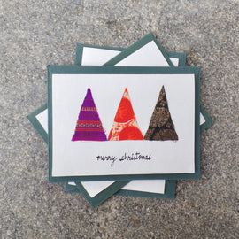 Upcycled Christmas Cards with Trees
