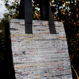 Black Handwoven Newspaper Tote