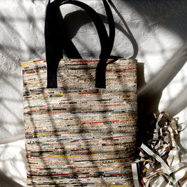 Navy Handwoven Newspaper Tote