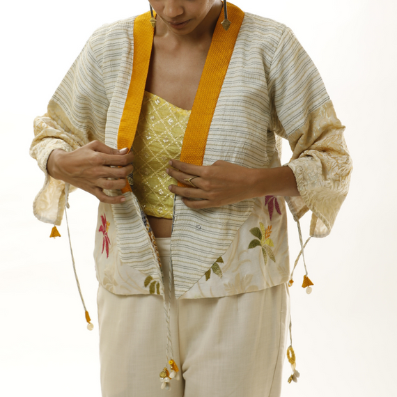 White and Yellow Kimono Jacket