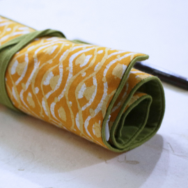 Yellow Block Print Roll-Up Case