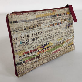 Handwoven Newspaper Zip Pouch