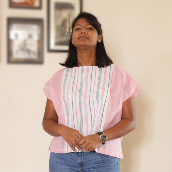 Zero Waste Pink Melon Panelled Top - REFASH