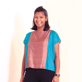 Zero Waste Teal Panelled Top - REFASH