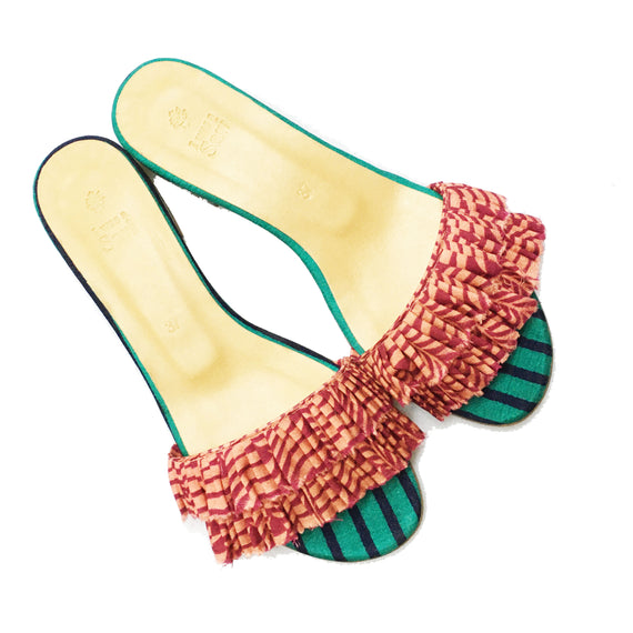 Orange Embellished Sandals - REFASH