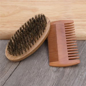Sandalwood Beard Comb and Boar Bristle Brush Set - Brutal Beard