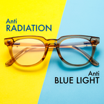 Adults Prescription Glasses Blue Light Blocking Computer Reading Gaming Glasses-Light Brown Crystal