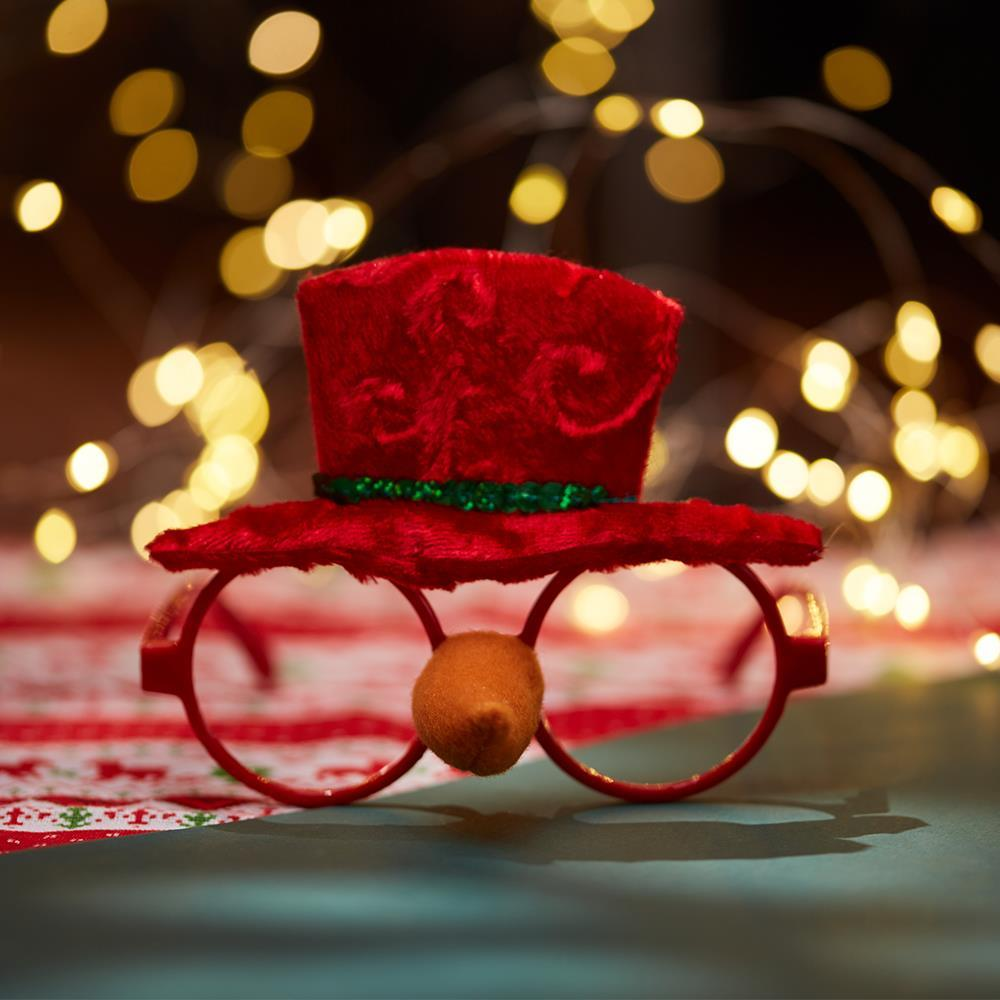 2 Pcs Christmas Red Hat Decorated Eyewears