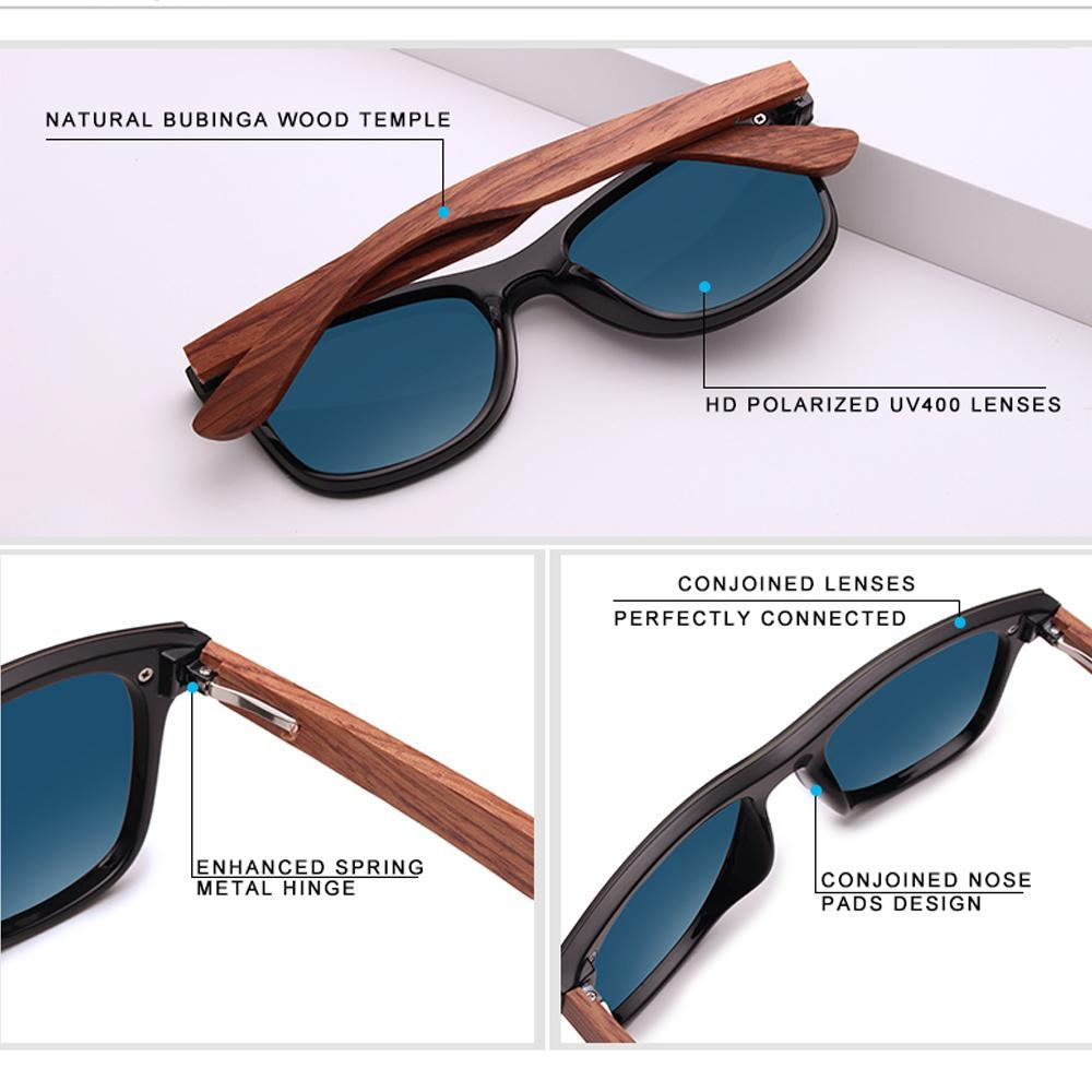 Cool - Natural Wooden Temple UV400 Protective Polarized Sunglasses - Green