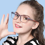 Elves - (Age 7-12)Children Blue Light Blocking Computer Reading Gaming Glasses-Matte Transparent Brown