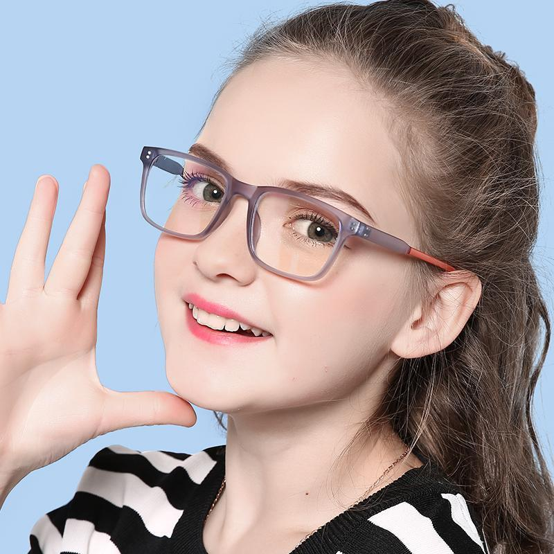 Elves - (Age 7-12)Children Prescription Glasses Blue Light Blocking Computer Reading Gaming Glasses-Matte Transparent Violet