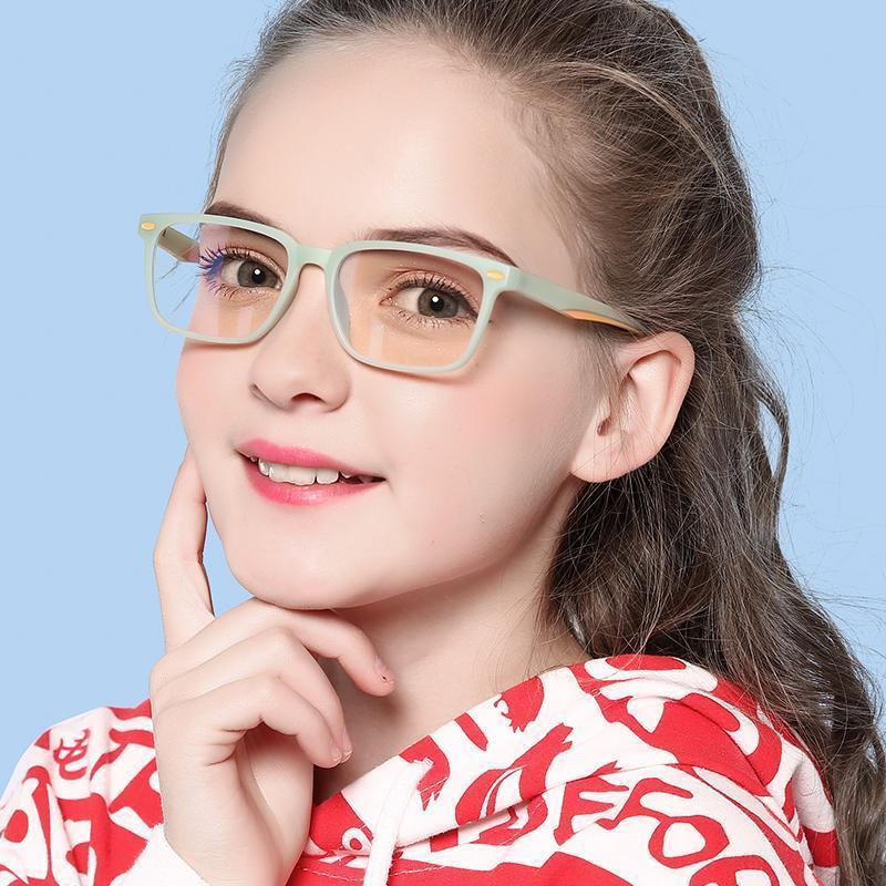 Angle - (Age 7-12)Children Prescription Glasses Blue Light Blocking Computer Reading Gaming Glasses-Matte Brown