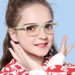 Angle - (Age 7-12)Children Prescription Glasses Blue Light Blocking Computer Reading Gaming Glasses-Matte Black