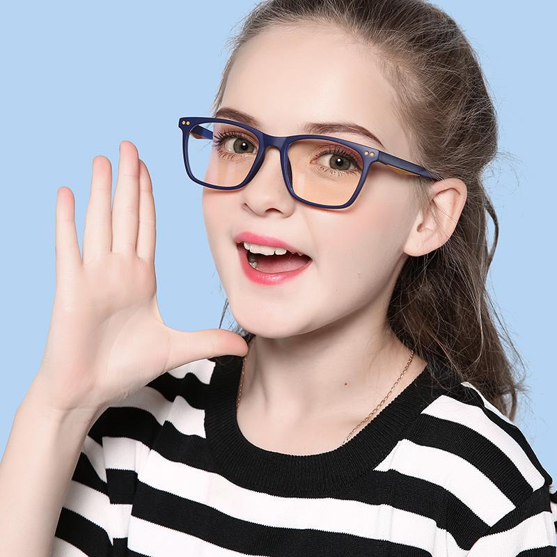 Genius - (Age 7-12)Children Prescription Glasses Blue Light Blocking Computer Reading Gaming Glasses-Blue