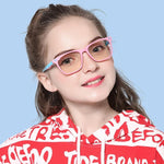 Genius - (Age 7-12)Children Blue Light Blocking Computer Reading Gaming Glasses-Matte Pink