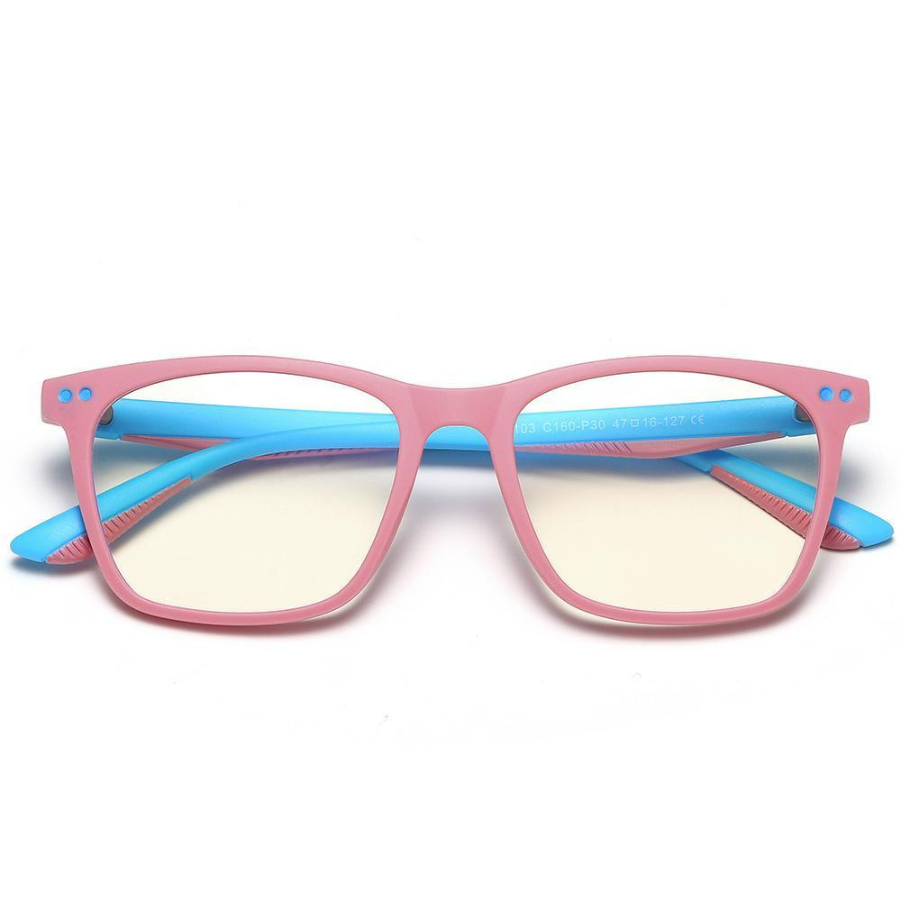 Genius - (Age 7-12)Children Prescription Glasses Blue Light Blocking Computer Reading Gaming Glasses-Matte Pink