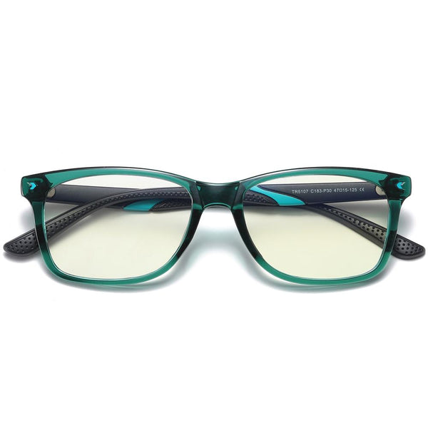 Wise - (Age 7-12)Children Blue Light Blocking Computer Reading Gaming Glasses - Bright Ink Green