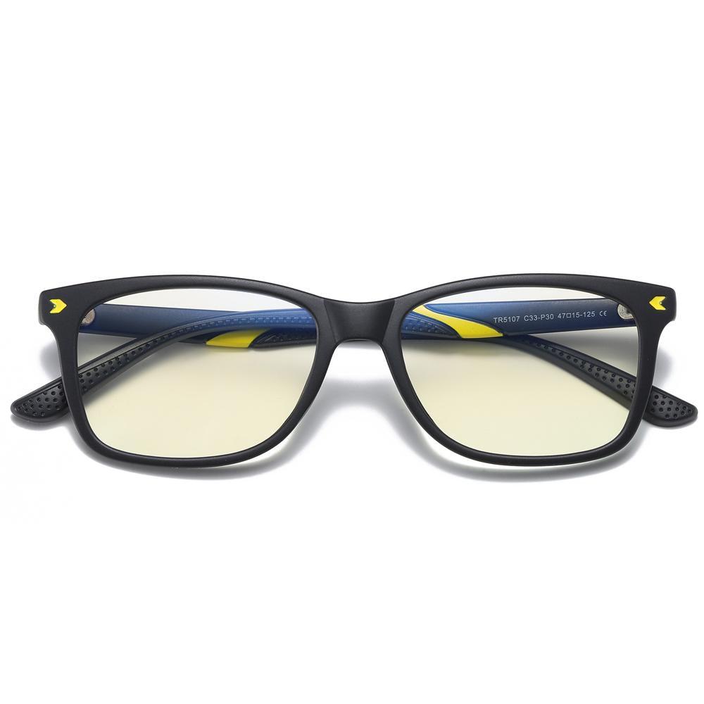 Wise - (Age 7-12)Children Blue Light Blocking Computer Reading Gaming Glasses - Sand Black Yellow