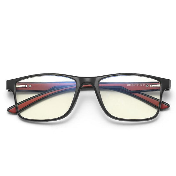Thoth - (Age 13-18)Teens Blue Light Blocking Computer Reading Gaming Glasses - Matte Black/Red