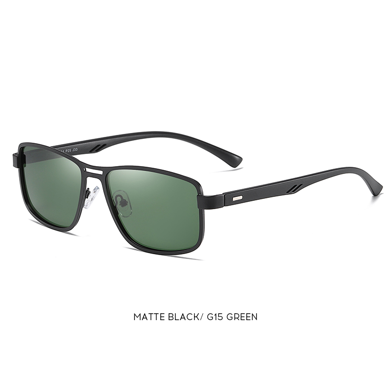 Noble - Trendy Stylish Polarized Sunglasses - Matte Black/Green