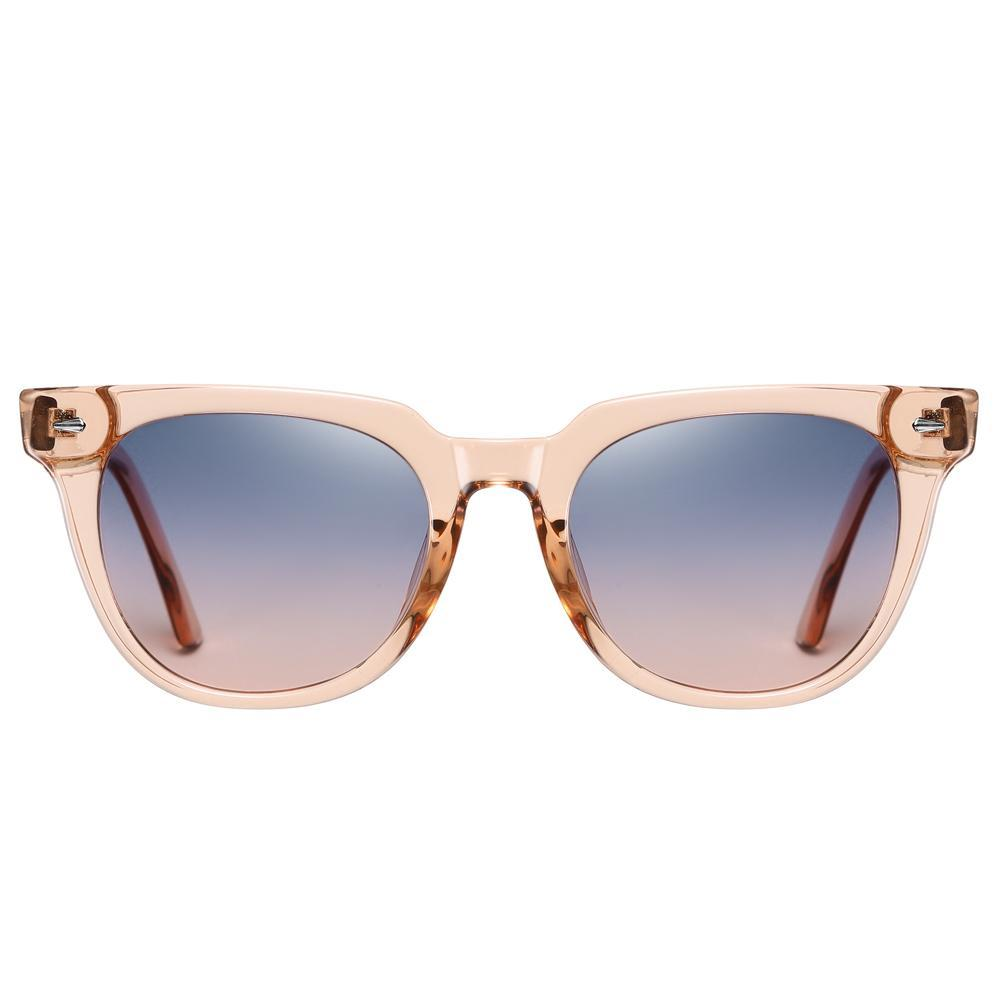 Duncan - Classic Trendy Stylish Polarized Sunglasses - Transparent Tea/Blue Pink