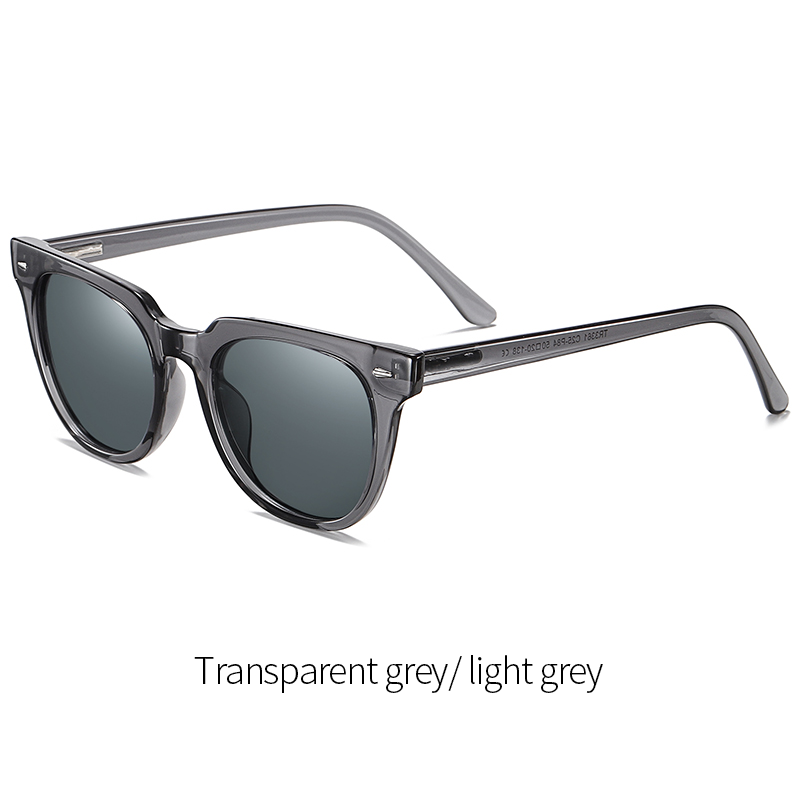 Duncan - Classic Trendy Stylish Polarized Sunglasses - Transparent Grey/Light Grey
