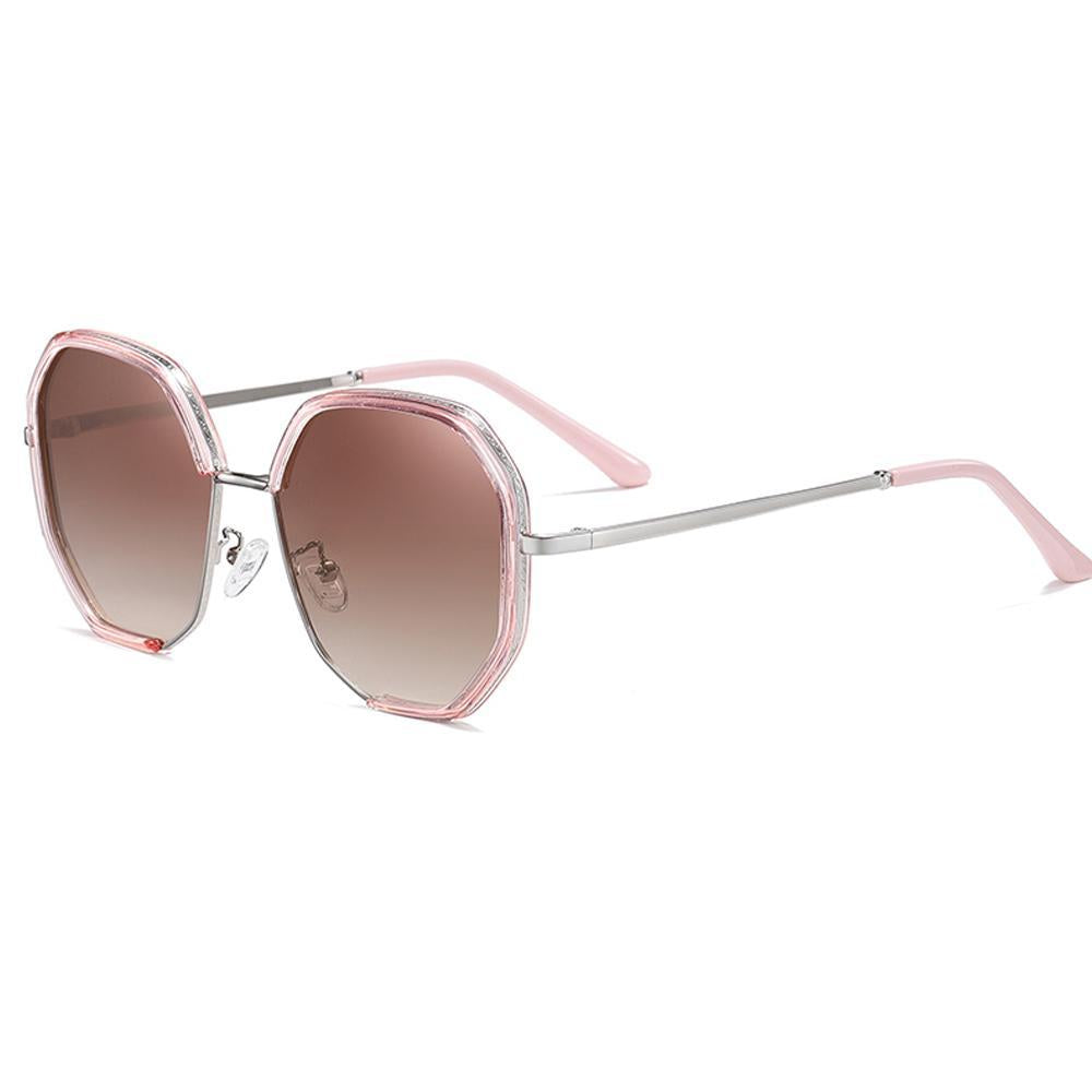 Celebrity - Street Shot Trendy Stylish Polarized Sunglasses - Bright Silver/Gradient Tea