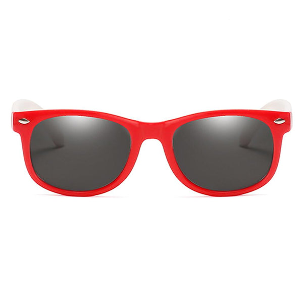 Rainbow - (Age 3-12)Kids UV400 Protective Polarized Sunglasses-Red&White