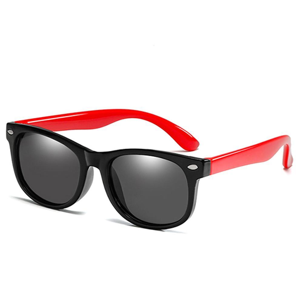Rainbow - (Age 3-12)Kids UV400 Protective Polarized Sunglasses-Black&Red