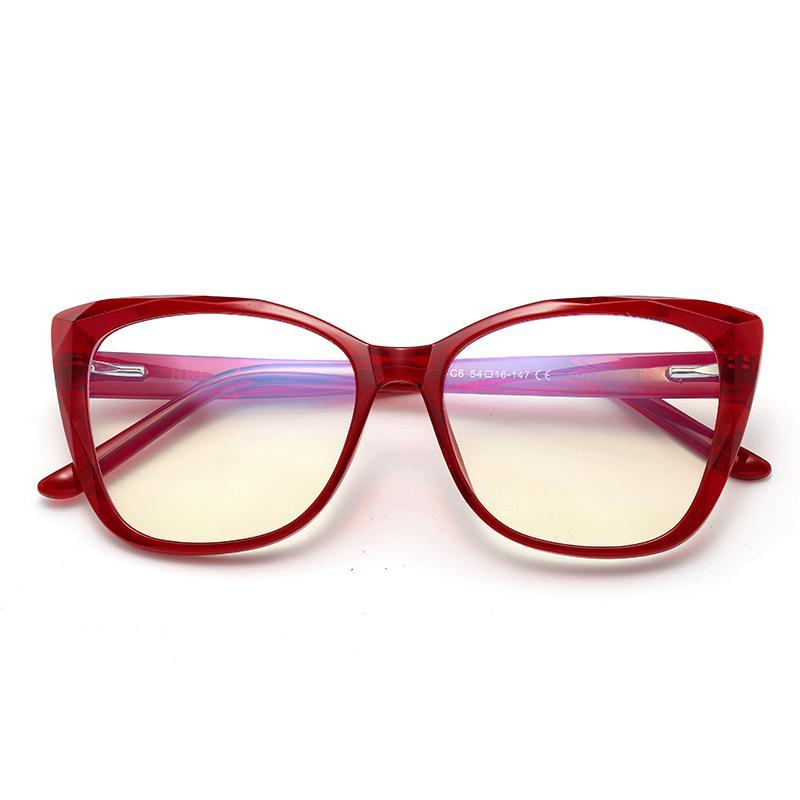 Sky - Fashion Blue Light Blocking Computer Reading Gaming Glasses - Transparent Red