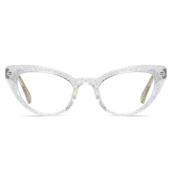 Kitten - Fashion Blue Light Blocking Computer Reading Gaming Glasses - Transparent Silver