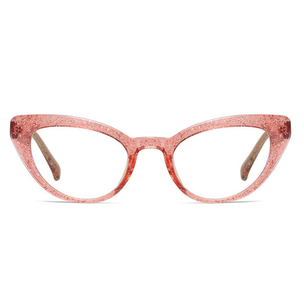 Kitten - Fashion Blue Light Blocking Computer Reading Gaming Glasses - Transparent Silver Pink