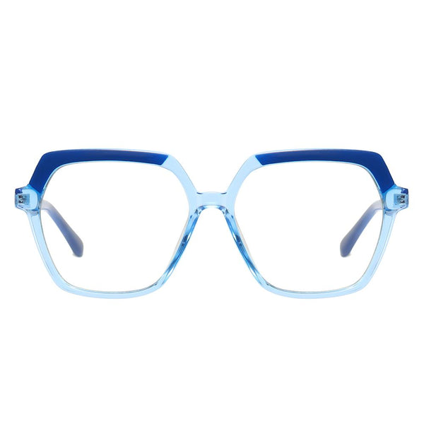 Believe - Fashion Blue Light Blocking Computer Reading Gaming Glasses - Transparent Blue